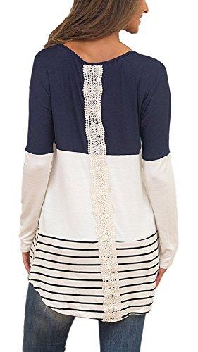 Minetom Chemise Femme Manches Longues Col Rond Splice Shirt Blouse Tops T-Shirt Mini Avec Dentelles Bleu