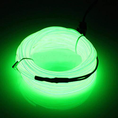 1m/2m/3M/4M/5m auto interior Lighting auto striscia LED Garland el Wire Rope tubo linea flessibile della luce al neon 12V per auto, decorazione per festa, plastica, Green, 1 m