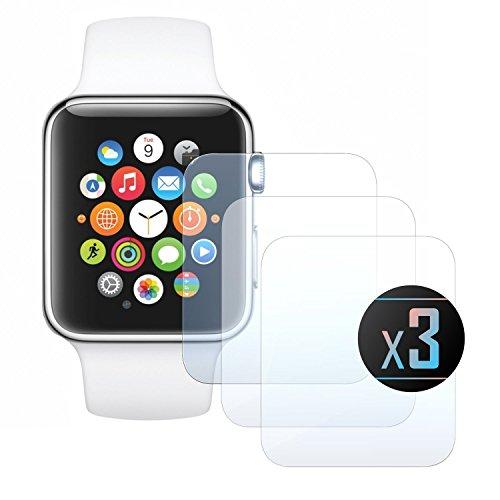 3 x Cristal Templado Protector de Pantalla Para iWatch 42 - NEVEQ® Vidrio Templado, el Apple iWatch 42 (TG) () Pulgadas piel Protectora de la Cubierta.