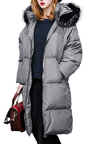Jacke Mantel Damen Daunenjacke Wintermantel Damen Steppjacke Daunenmantel  Winter Parka Damen Jacke Damen Grau Lang Mantel Damen Grau Mantel  Damenjacke Damen ... 02ed329618