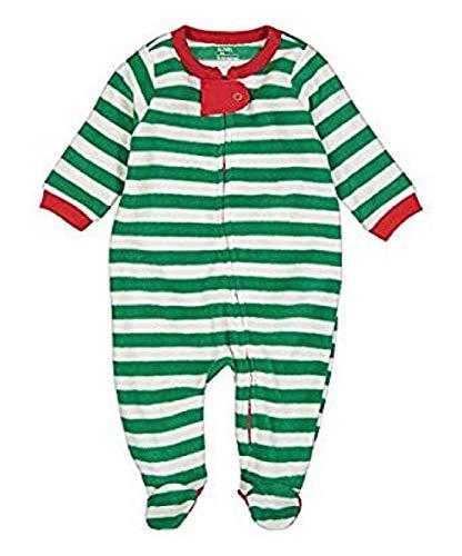 Elowel Unisex Baby Mädchen Und Jungen Weihnachten Gestreift-Design Rot Und Weiß Schlafanzug Strampler 100% Polyester Flauschig (Größe 6 M-5 Jahre) 6-12 Monate (Jungen 8 Größe Schlafanzüge Weihnachten)