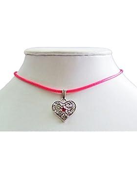 Kinder Trachten Halskette Sira mit Edelweiß Herz - Zauberhafter Schmuck für Mädchen zu Dirndl und Kleidern
