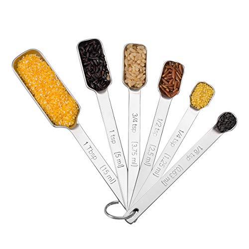 WoNiu 6-Teilige Messlöffel Set Edelstahl Dauerhaft Metall Edelstahl Messlöffel in Verschiedenen Größen für Kochen und Backen Gewürzlöffel