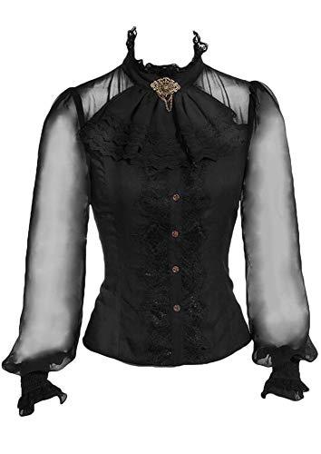 RQ-BL Viktorianische Langarm-Bluse Schwarz mit Jabot und Brosche (SP180) Steampunk Rüschen, Größe:XXL