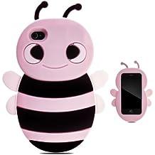 Zooky® rosa silicona abeja FUNDA / CARCASA / COVER para iPhone 4 / 4s