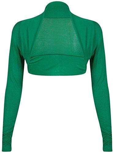 Fashion 4 Less Damen Bolero, Einfarbig Grün Grün (Cardigan Cropped Front)