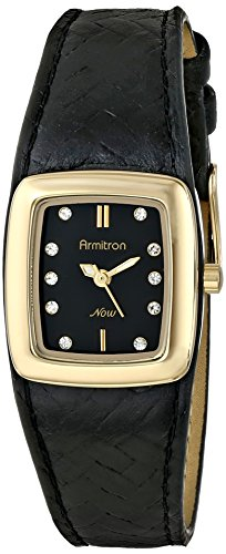 armitron-femme-75-5089bkgpbk-avec-cristal-swarovski-dore-bracelet-en-cuir-tresse-noir