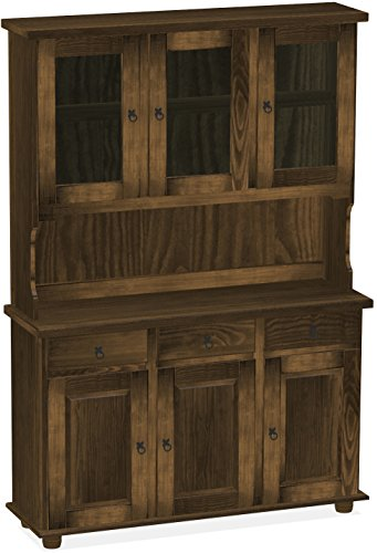 Brasilmöbel Highboard, Pinie Massivholz, geölt und gewachst Eiche antik, L/B/H: 129 x 40 x 187 cm