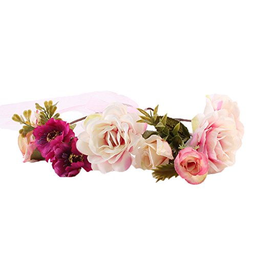 COIN Stirnband Blumenkranz Blumenstirnband Handwerk für Festival Hochzeit Blumenkrone für Mädchen Brautjungfer Festival Urlaub für Damen 1 Stück ()