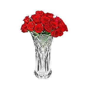 Kurtzy Floreros Decorativos Altos (1Pc) – 29cm Floreros Cristal – Florero Cristal Redondo – Decoración de Bodas…