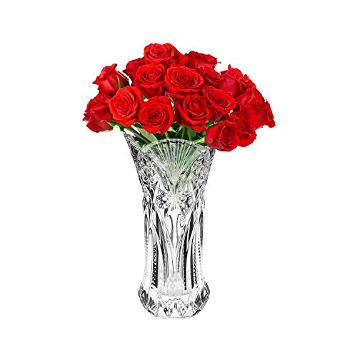 Vase en Verre Transparent (1Pc) - 29cm Gros Vase en Verre - en Relief pour la Décorations Design de Mariage, dans Votre Salon, en Soirées - Idéal en Cadeau de Mariage et en Décoration d'Intérieu