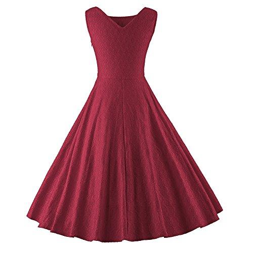 LUOUSE Damen Audrey Hepburn 50s Retro vintage Bubble Skirt Rockabilly Swing Evening kleid Dress WineRed