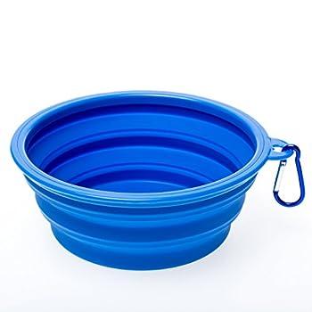 WoofWoof gamelle de voyage pliable en silicone pour chien- 1000ml(Bleu)