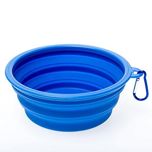 Faltbarer Silikon Hundenapf, WoofWoof Reisen Futter Tragbarer Wassernapf Trinknapf Futternapf für Haustiere ( Blau ) (Hundenäpfe Große)