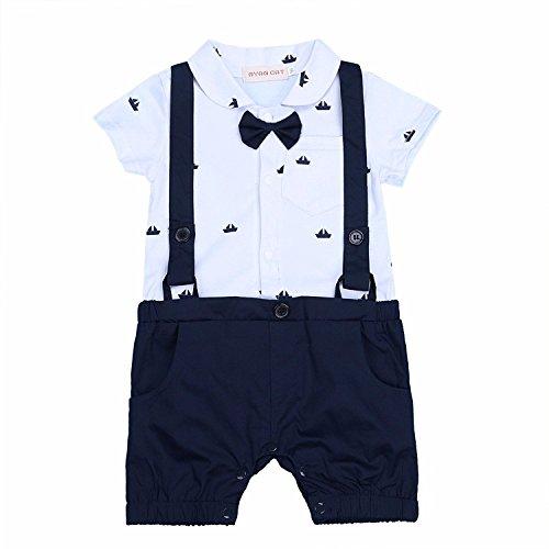 G-Kids Baby Jungen Strampler Smoking EinteilerGentleman Strampler Sommer Kleidung Taufkleidung Festlich Fliege Outfit (70/3-6 Monate)