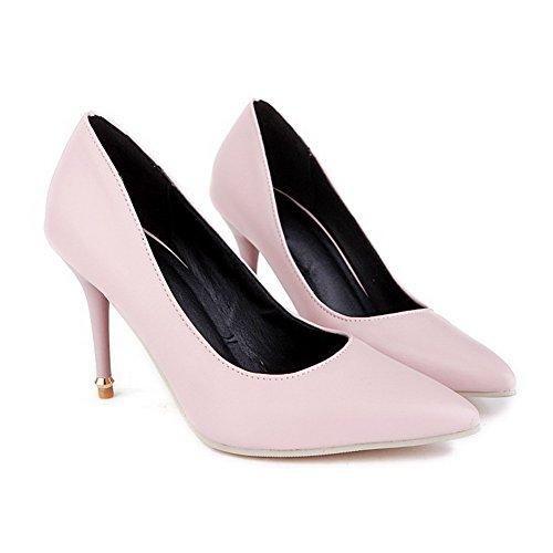 AllhqFashion Damen Ziehen Auf Spitz Zehe Stiletto Rein Pumps Schuhe Pink