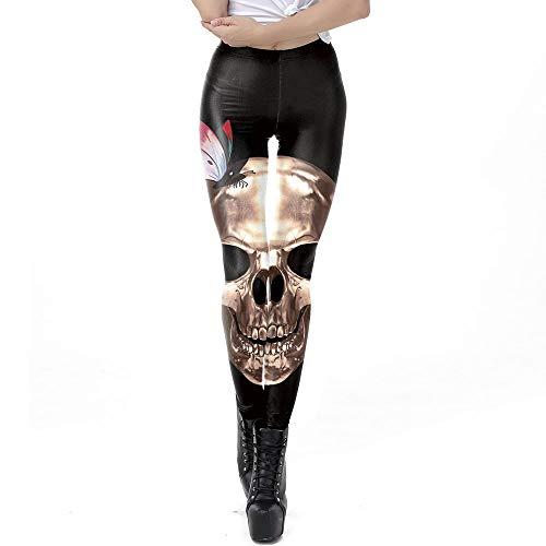 WSNGD Halloween-Dame-Mädchen-Straße Skeleton Damenbekleidung, Herbst Neuer Sport Füße Leggings Fitness Ganzkörper Stretchy (Tanz Kostüm Mädchen Großbritannien)