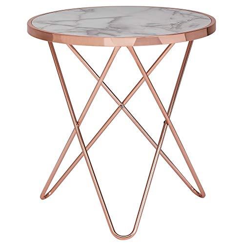 FineBuy Design Beistelltisch Marmor Optik Weiß Rund Ø55 cm Kupfer Metall-Gestell | Kleiner Wohnzimmertisch | Couchtisch
