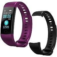 GBVFCDRT Smart Watch Sports Fitness Actividad Rastreador de Ritmo cardíaco Presión Arterial Pulsera Ip67 Banda podómetro Impermeable para iOS Android, Púrpura Añadir Correa