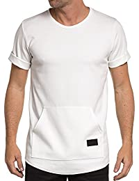 Celebry tees - T-shirt blanc street homme poche kangourou