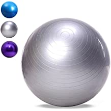 Outlife Pelota de Ejercicio Suiza de 65cm, Balón de Equilibrio de PVC Antideslizante, Bola de Gimnasia para Fitness/ Yoga/ Polates(Plata)
