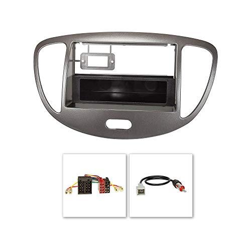 tomzz Audio 2419-007 Radioblende Set passend für Hyundai i10 Bj.2008-2013 dunkelsilber mit Radioadapter ISO, GT5 Antennenadapter DIN