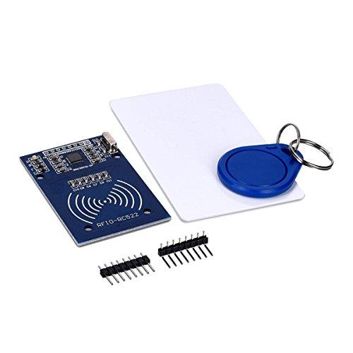 kwmobile Carte RC522 RFID S50 - Module Carte Puce Lecteur RF avec Porte-Clef - Kit Module Reader Compatible Arduino Raspberry Pi Genuino