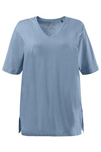 Ulla Popken Große Größen Damen T-Shirt, V-Ausschnitt raucheisblau