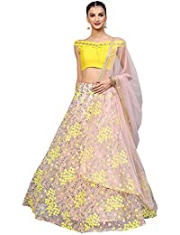 e2204e00f95 Inddus Women s Net Embroidered Heavy Semi-Stitched Lehenga (Pink and Yellow