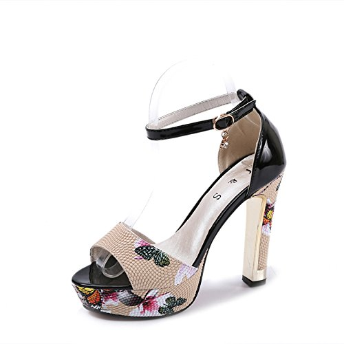 Lgk & One Fait Des Sandales De Femmes D'été, Avec L'impression À La Mode De Sandales À Talons Hauts Poisson Bouche Chaussures Noires Femmes