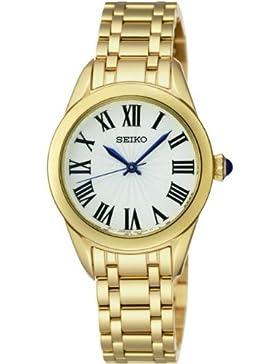 Seiko SRZ384P1Damen-Armbanduhr 045J699, analog, weißes Gehäuse, Armband aus Stahl, vergoldet, Quarz