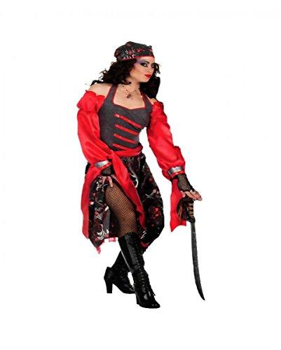 Horror-Shop Rot-Graues Freibeuter Damen-Kostüm Plus Size XL / ()