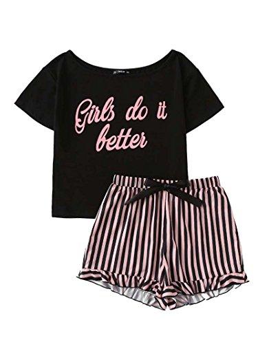 DIDK Damen Baumwoll Schlafanzug Set mit Slogan Top und Shorts Pajamas Rosa S