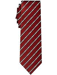 cravate soie rayée fine white stripe on burgundy