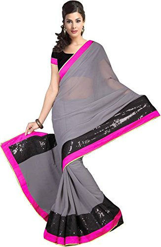 EthnicPark Designer Grey Georgette Saree With Blouse