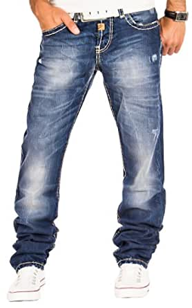 Cipo & Baxx Herren Jeans Cargo Denim Hose Chino Clubwear Verwaschen Dicke Naht Blau / L30 - L32 - L34 - L36 / W29 - W38 / C-0688 (W29/L30)