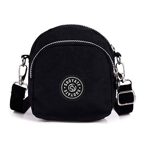 Bstly multiuso antifurto zaino borsa di stoffa di fiori borsa di nylon borsa femminile spalla croce diagonale borsa multi-strato borsa donna moda bella borsa nera