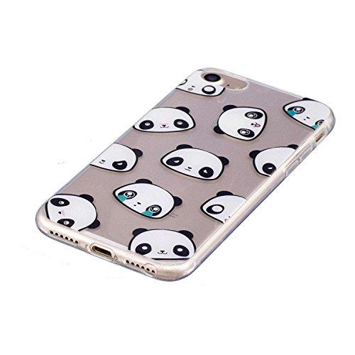 Coque iPhone 7, MSK® Coque Housse Etui Silicone Soft Clear TPU Case Cover Souple de Protection Coque Mince Léger Etui Flexible Lisse Couverture Anti Rayure Anti Choc Bumper Pour iPhone 7 - Donuts Panda