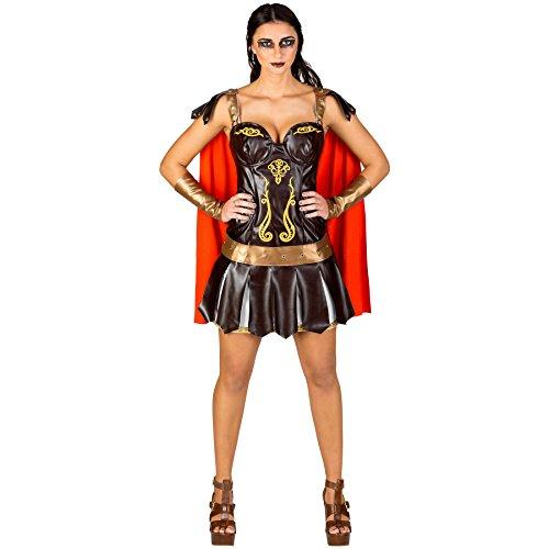 Frauenkostüm sexy Gladiatorin | Super sexy und kurzes Kleid | Kriegerische Wappenrock-Optik | Armstulpen in Rüstungsoptik (S | Nr. (Halloween Paare Römisch Kostüme)