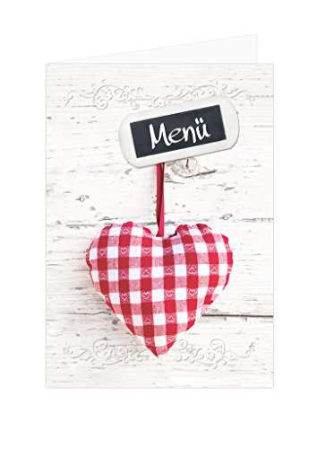10 Stück Menükarten rot weiß kariert Herz beschreibbar bedruckbar Speisekarten DIN A4 geklappt A5 Tischdeko Hochzeit Kommunion Geburtstag