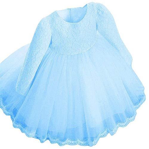 IZHH Kinder Baby Mädchen Kleider, Langarm Prinzessin Spitze Knospe Siebdruck Chiffon Bogen Blume Pageant Hochzeit Party Kleider Karneval Ostern Kleidung(Blau,130)