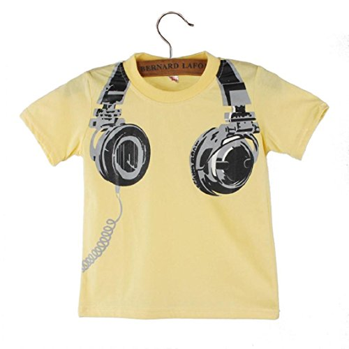 Kids T-shirts, Transer® 1PC Infant Baby Boys/Girls T-shirts Kid Clothes Toddlers T shirts Tops Outfits with Headphone Printed Tshirts Short Sleeve Blouses Summer Clothing (3-4 Years, Yellow)