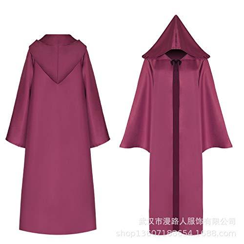 Kostüm Winter Hexenmeister - wojiaxiaopu Halloween Mantel Tod Cosplay Kostüm mittelalterlichen COS Kleidung Mantel roten Mantel L