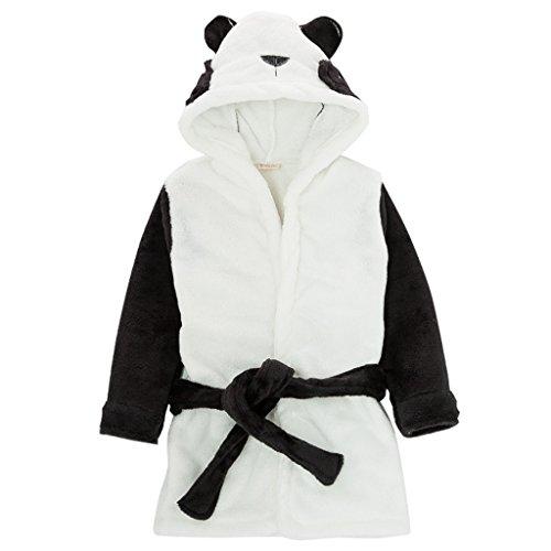 Kinder Nachtwäsche mit Kapuze Bademantel, Baby Kleinkind Jungen Mädchen Nachthemd Flanell Pyjamas Bademäntel Cartoon Tiere Handtuch Panda