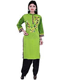 Vaidiki Designer Green Coloure Embroidered Printed Cotton Kurti With Black Patiala Readymade Suit For Women's