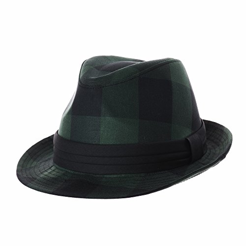 WITHMOONS Fedora Hut Bogarthut Mafiahut Fedora Hat Glen Tartan Plaid Check Pttern DW6681 (Green, M) (Plaid Herren Fedora)