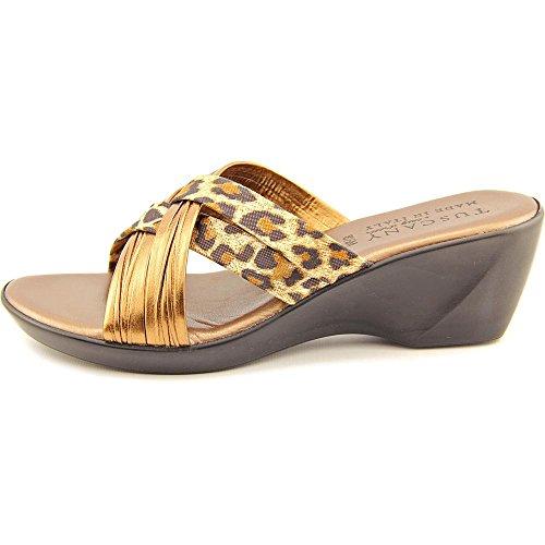 Easy Street Ceccano Damen Synthetik Keilabsätze Sandale Bronze/Leopard