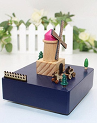 Su @ Da Valentinstag Geschenk Freundin Geschenk Windmühle Musik Box handgefertigt massiv Holz 14* 14* 15cm deep blue blau Music Box-bewegungen Handwerk
