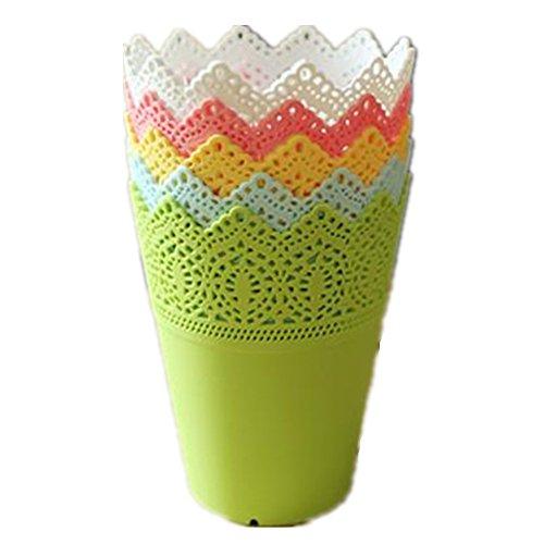 5x Chytaii Vase Boîte Panier en Plastique Dentelle Pot de Plantes pour Maison Bureau Décoration/ 5 couleurs