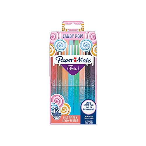 Paper Mate Flair Candy POP stylos feutre, pointe moyenne, assortiment de couleurs, lot de 16